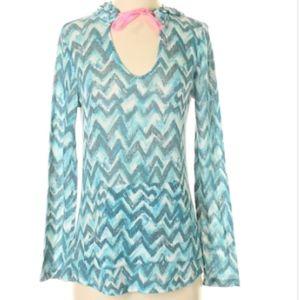 Aqua chevron hoodie shirt